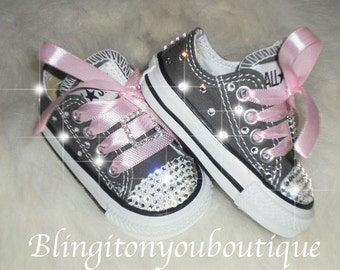 509327014223 Sale Baby infant toddler Converse Chuck Taylors Swarovski Crystals Bling  SHOES ALLSTAR rhinestone Pageant princess PHOTO Prop gray pink