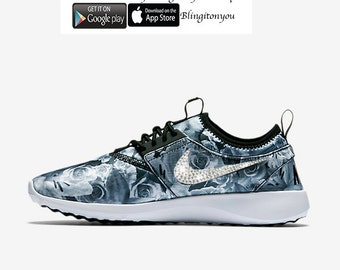 size 40 492e0 16990 Rare LAST PAIR! Will ship within 24 hours all 4 swoosh logos! Nike Juvenate  Floral Print Bling Shoes Customized with Swarovski Crystals