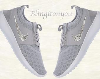 e2ad5f054dc5 Swarovski Nike Juvenate Grey Shoes Customized   Blinged with Swarovski  Crystal Rhinestones! New in Box Authentic Nikes Blinged Out!