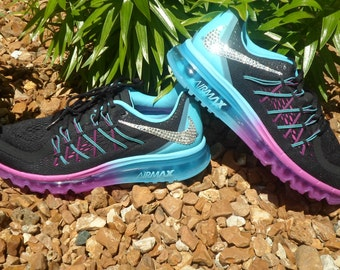 best website 91759 ec60b Last pair Will ship within 24 hours! Women s Nike Air Max 2015 Running Shoes  Black White Clearwater Fuchsia Flash Swarovski Nike Bling shoes