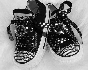 Baby infant Converse 5 Swarovski Crystals Bling SHOES All Star Converse  Pageant Perfect on sale now great shower gift 327b3061afa3