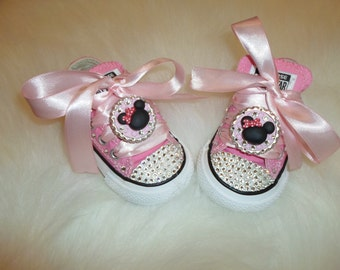 0785149f83acf5 Baby infant toddler Converse Chuck Taylors Swarovski Crystals Bling SHOES  ALLSTAR birthday girl Pageant princess PHOTO Prop minnie birthday