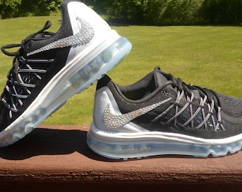 new style 58e39 0d011 Weekend sale size 9.5 Last pair SALE Women s Nike Air Max 2015 Running Shoes  Black Silver Swarovski Nike Bling shoes gorgeous. Blingitonyouboutique 5 out  ...