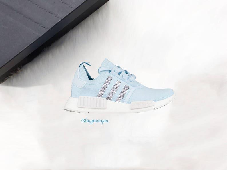08c40e87c00f3 Swarovski Adidas Blue NMD R1 Primeknit Casual Shoes Custom