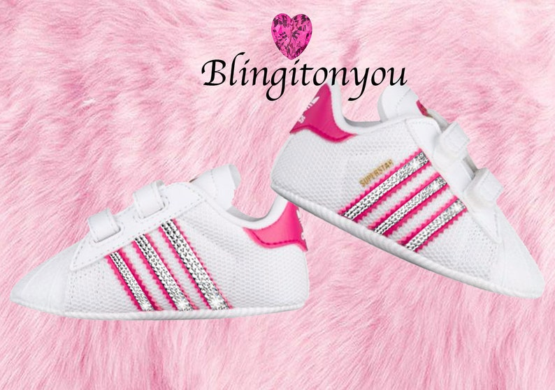 72d98b876f124 Infant Adidas Originals Superstar Bling Crib-Shoes Blinged with Swarovski  Crystals!