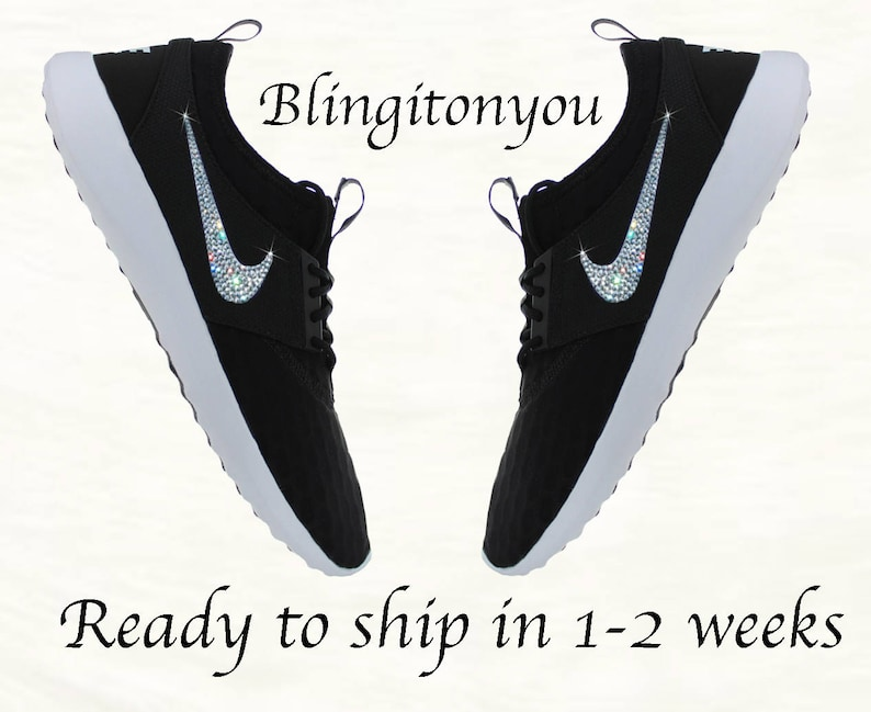 premium selection 57780 b1fc1 Nike Women s Juvenate Shoes Black White Custom Blinged   Etsy