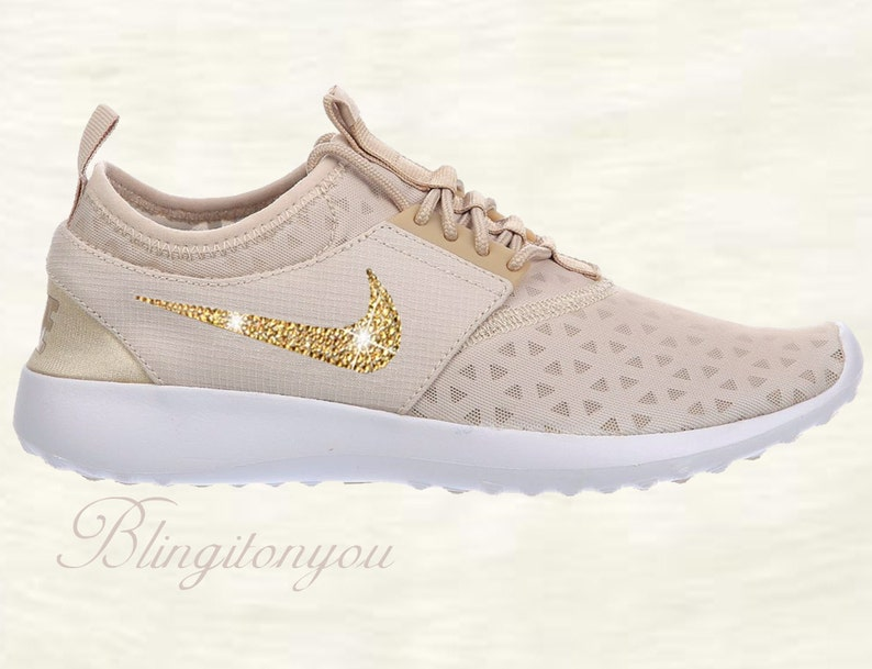 super popular 6958a a6554 SALE Swarovski Nike Juvenate Oatmeal Color Shoes Customized   Etsy