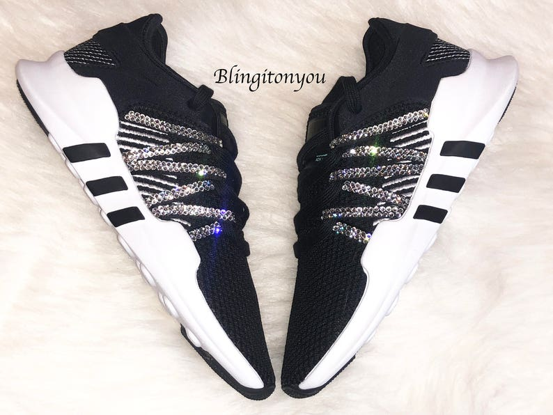 ea044ed72c764 Bling Adidas Originals with Swarovski Crystals * Women's Originals EQT  Racing ADV Runners Casual Shoes * Black/White