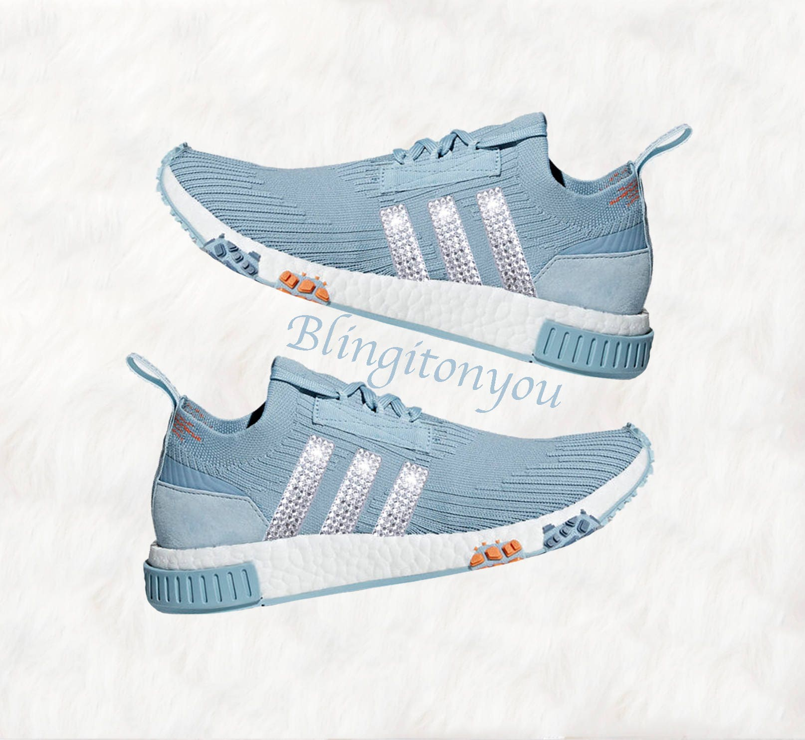 new product ea787 3c78a Bling Adidas NMD with Swarovski Crystals * Women's Originals NMD Racer  Primeknit Runners Casual Shoes * Blue