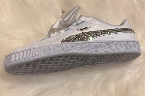 New Swarovski Women's white Puma Shoes Custom Blinged with Clear Swarovski Crystal Rhinestones | Puma Bling Shoes | Bling Shoes basket bling