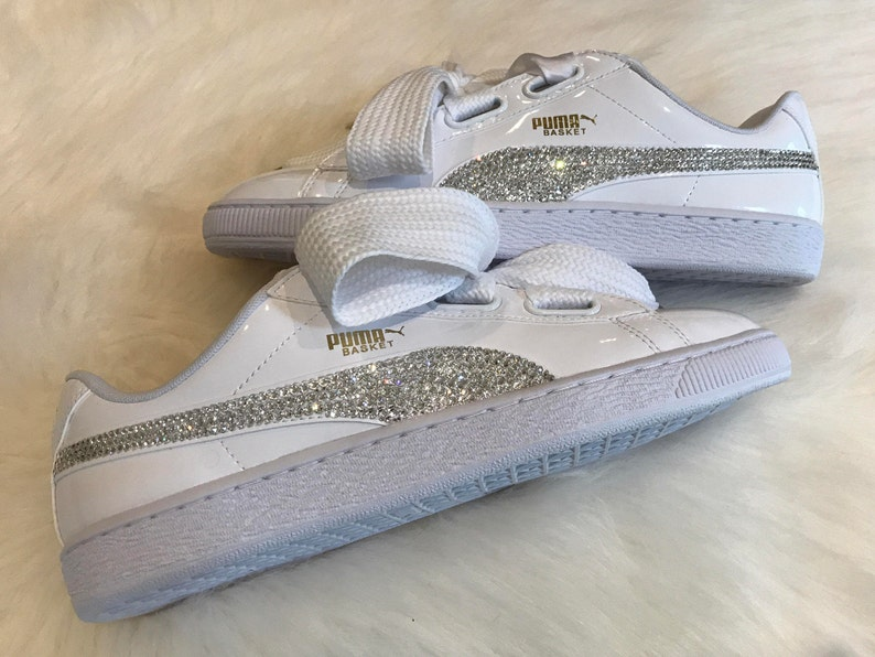 photos officielles 3a3cf 8e451 New Swarovski Women's white Puma Shoes Custom Blinged with Clear Swarovski  Crystal Rhinestones | Puma Bling Shoes | Bling Shoes basket bling