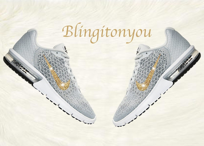 7c31f41747 Swarovski Nike Air Max Sequent 2 Women's Shoes Grey Blinged Out With Gold  Swarovski Crystals - Nike Air Max Swarovski Nike Bling Shoes