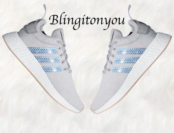 94a686ece Grey Swarovski Adidas Originals NMD R2 Women s Bling Shoes