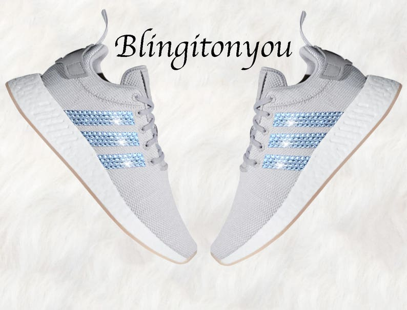 15328bfc8 Grey Swarovski Adidas Originals NMD R2 Women s Bling Shoes