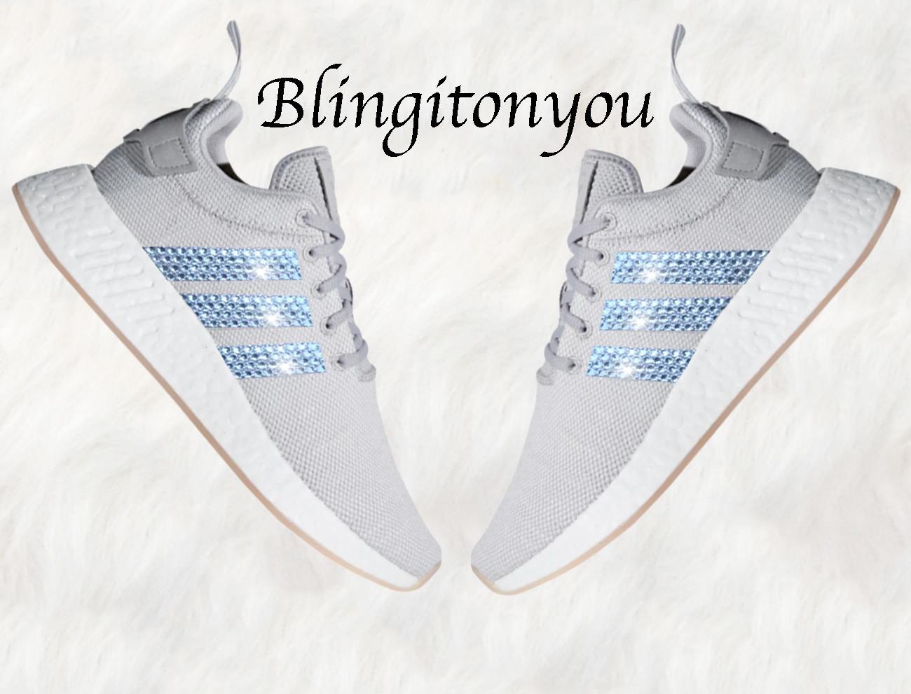 super popular 1eea2 93b0c Grigio Swarovski Adidas Originals NMD R2 Bling-scarpe donna   Etsy