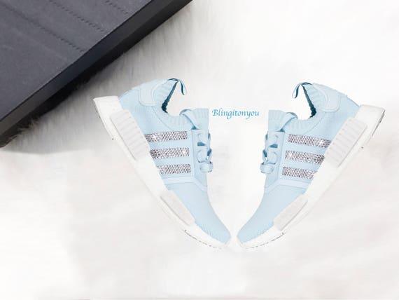 Swarovski Adidas Blue NMD R1 Primeknit Casual Shoes Custom  eeee2c533d6d