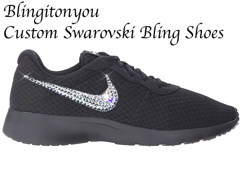 brand new e7532 ed66a Swarovski Nike Women s Tanjun Shoes Black Custom Blinged   Etsy