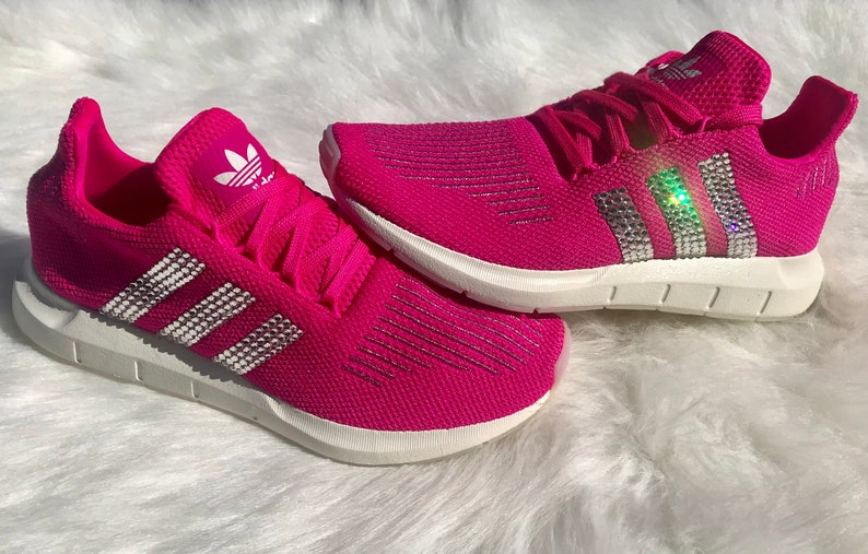 20d199cdd Pink Swarovski Adidas Women s Swift Run Shoes Custom