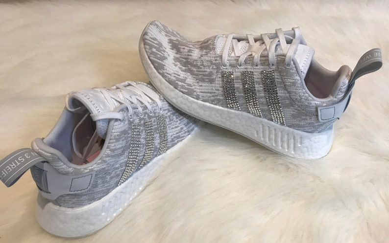 a3fdf8a8c1491 Women s Adidas NMD R2 Grey   White Shoes Custom Blinged