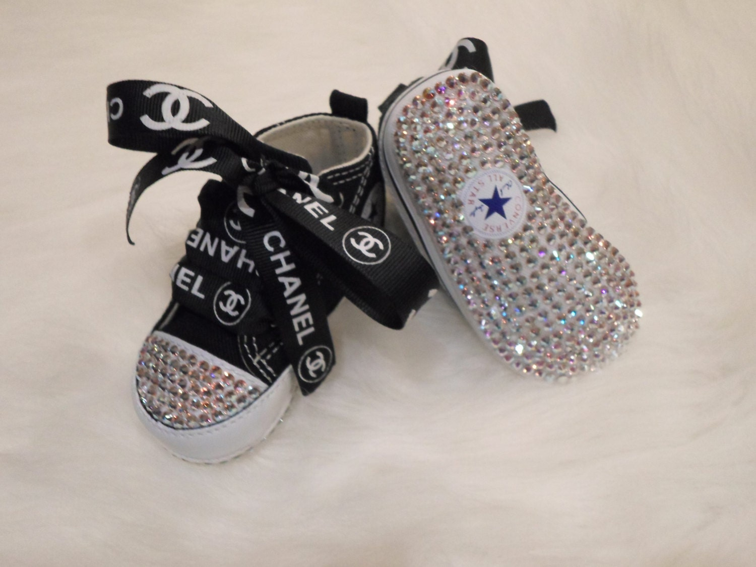 SALE Baby Black Converse crib shoes Swarovski Crystals ...