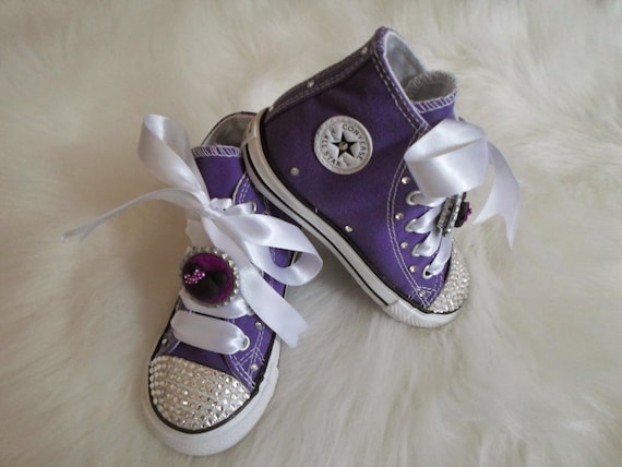 ded02ed5e912 Minnie infant toddler Converse Swarovski Crystals Bling SHOES rhinestone  Pageant princess PHOTO Prop purple high tops