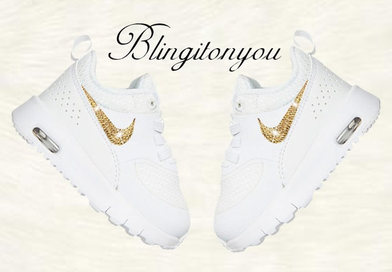 d0137603b0d6 New Swarovski Nike Toddler Air Max Thea White Shoes Blinged