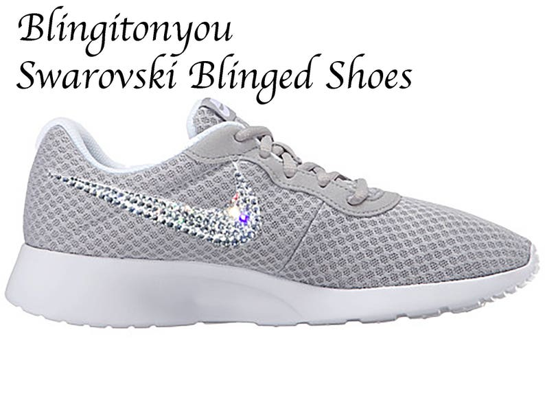 the best attitude 97304 95ca0 Swarovski Nike Women s Tanjun Shoes Wolf Grey Custom   Etsy