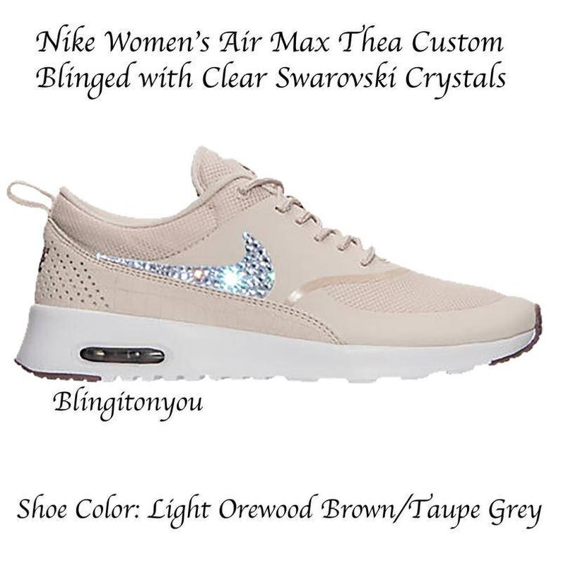 finest selection 4a340 6e70a Air Max Thea Light Brown Orewood Blinged Swarovski Femme   Etsy