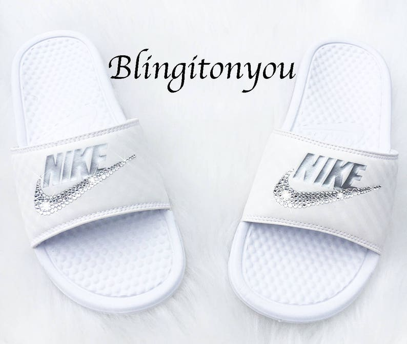 9e3323cad18385 New Women s Swarovski Nike White Benassi Slide Sandals