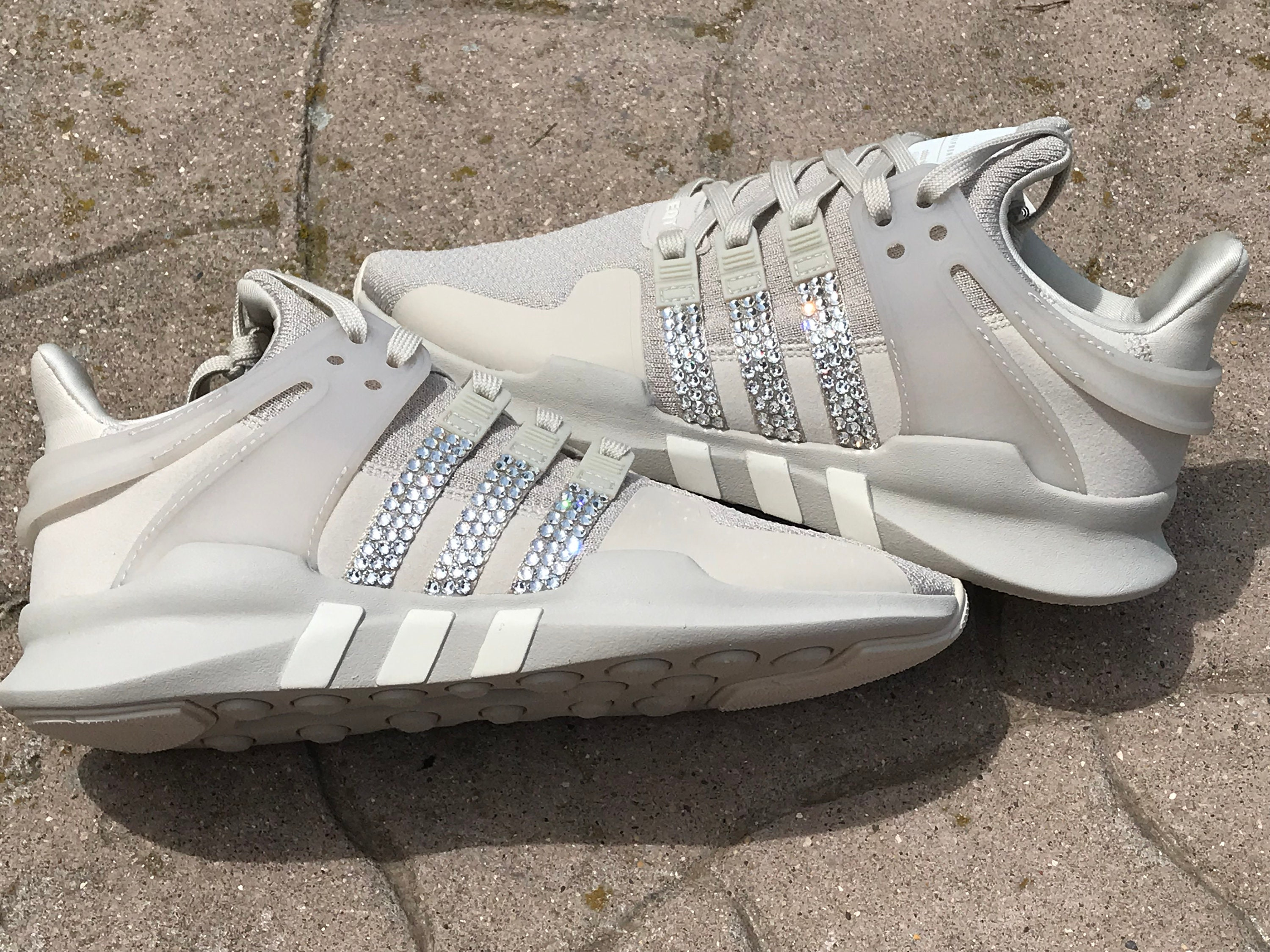 5fe64f0b26dc3 Sale! New Bling Adidas Originals with Swarovski Crystals * Women's  Originals EQT Racing ADV Runners Casual Shoes *clear brown/off white