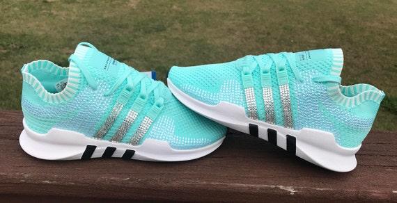 Sale today!!! Swarovski adidas Originals EQT Support ADV Primeknit Energy Aqua Women's Swarovski Blinged Adidas Shoes