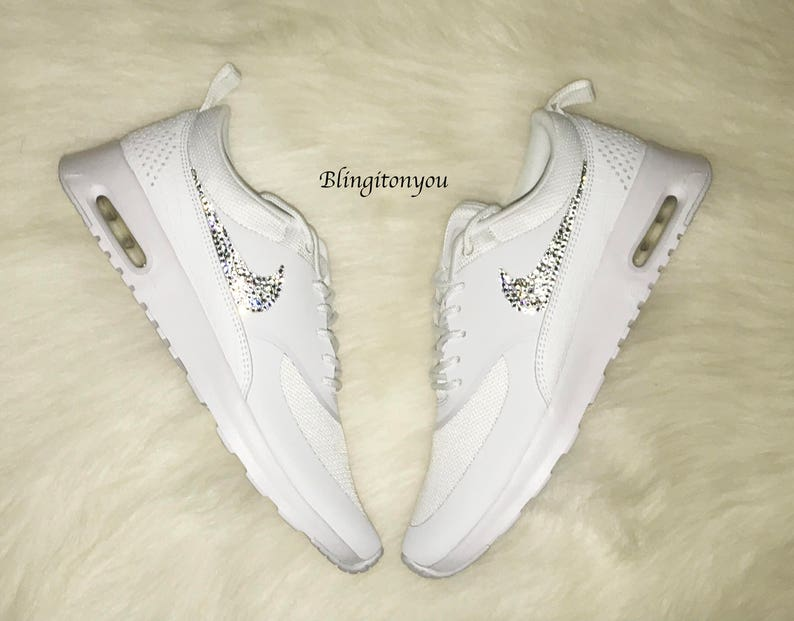 NEW just IN HOT Sale Women s Nike Air Max Thea Running Shoes white on white  Bling shoes swarovski crystals ... ee4816905