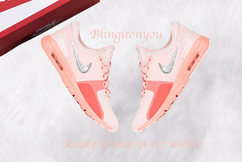 Swarovski Nike Air Max Zero Sunset Tint   Glow Shoes Custom  6496a36c93a8