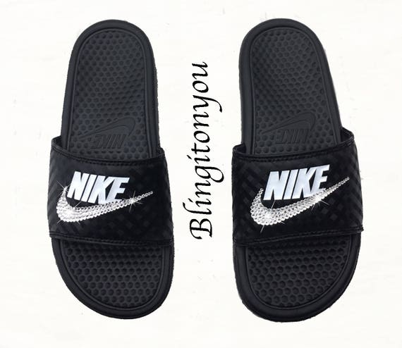 New Women's Swarovski Nike Benassi Slide Sandals Customized with Clear  Swarovski Crystal Rhinestones | Nike Bling Sandals-Swarovski Sandals