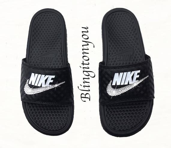 online store 3867f 120fc New Women s Swarovski Nike Benassi Slide Sandals   Etsy