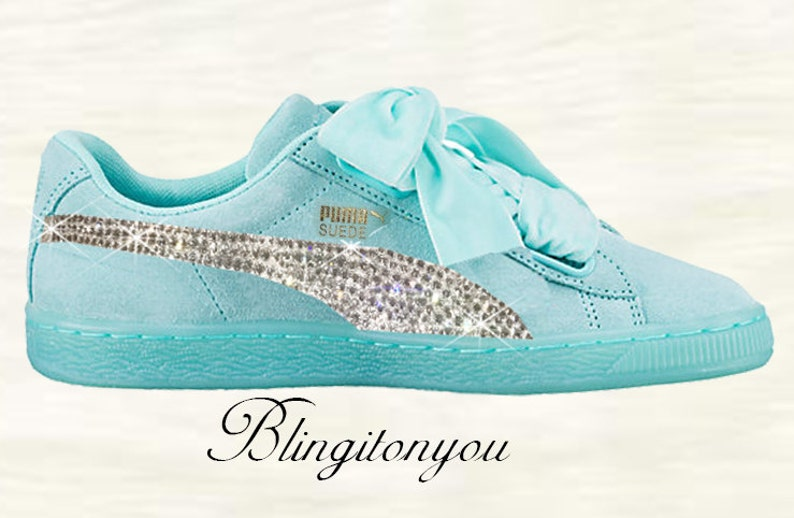 best service 19881 45611 New Swarovski Women's Blue Puma Suede Heart Shoes Custom Blinged with Clear  Swarovski Crystal Rhinestones | Puma Bling Shoes | Bling Shoes