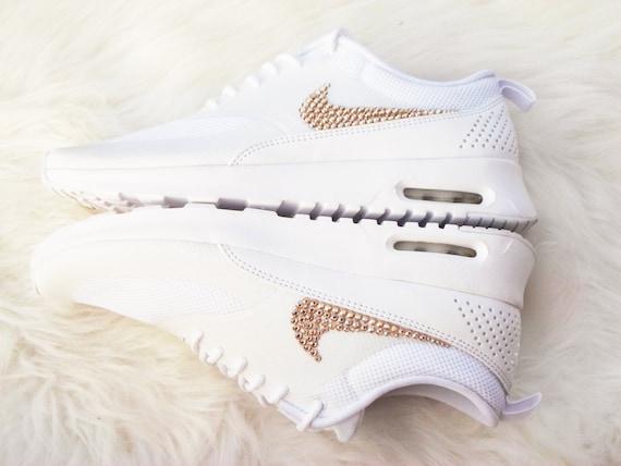 Blinged Womens Nike Air Max Thea Laufschuhe grau von