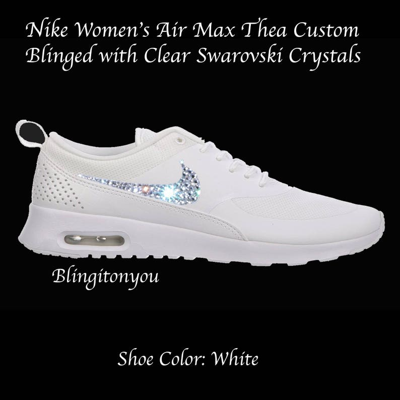 Swarovski Nike Women's Air Max Thea (White) Blinged with Swarovski Crystal Rhinestones Bling Swarovski Nike Shoes
