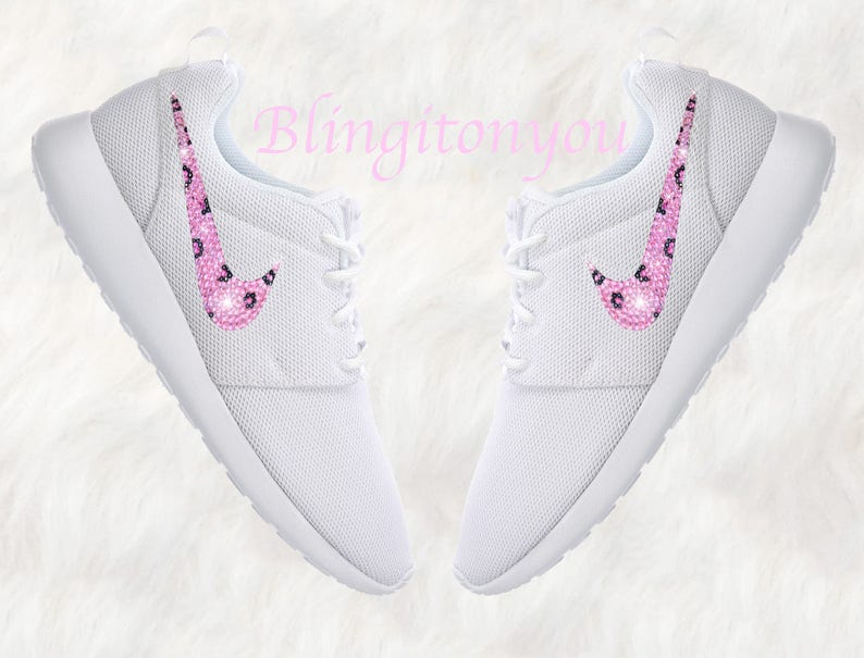 b206c78caf54 Swarovski Nike Roshe One Women s Shoes White Blinged Out
