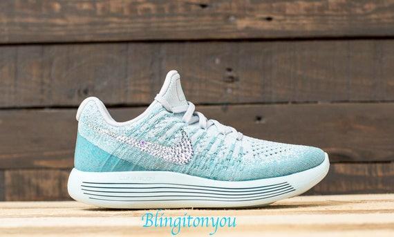 New Swarovski Nike Lunarepic Low Flyknit 2 Shoes Customized with Clear Swarovski  Crystal Rhinestones Bling Nike Shoes Swarovski Nike Bling 060671c2224f