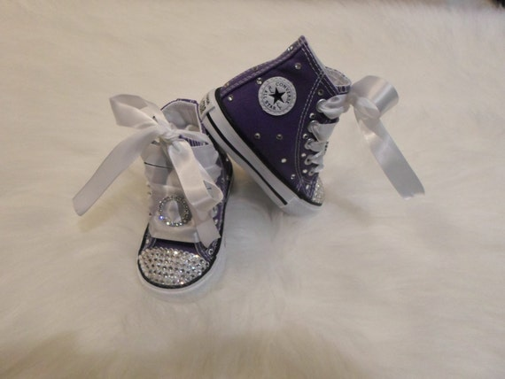 4fb8e61a1919 Items similar to baby infant toddler Converse Electric Purple Chuck Taylors  Swarovski Crystals Bling SHOES rhinestone Pageant princess PHOTO Prop girl  sale ...