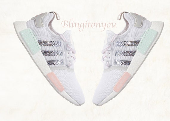 premium selection eb76a f8e25 Swarovski Adidas NMD R1 Casual Shoes Custom Blinged with Clear Swarovski  Crystal Rhinestones | Swarovski Adidas Women's Shoes