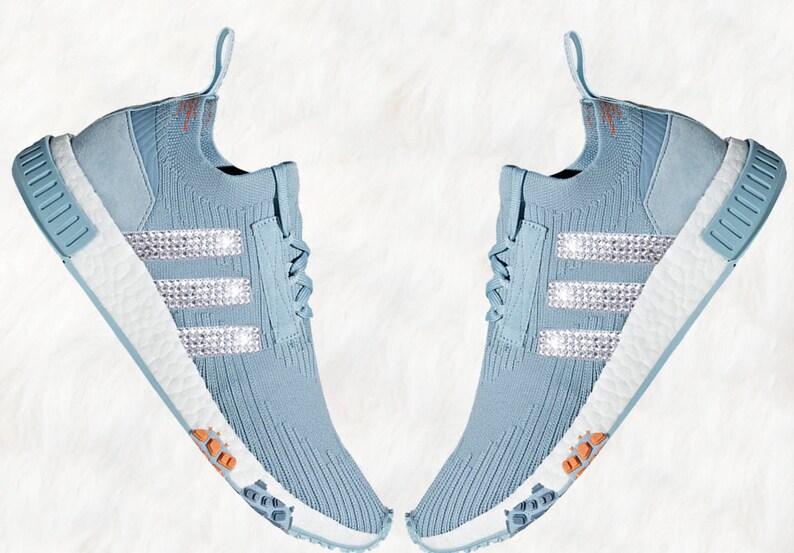 Bling adidas NMD z kryształami Swarovski * Originals kobiet NMD Racer Primeknit biegaczy casual buty * niebieski