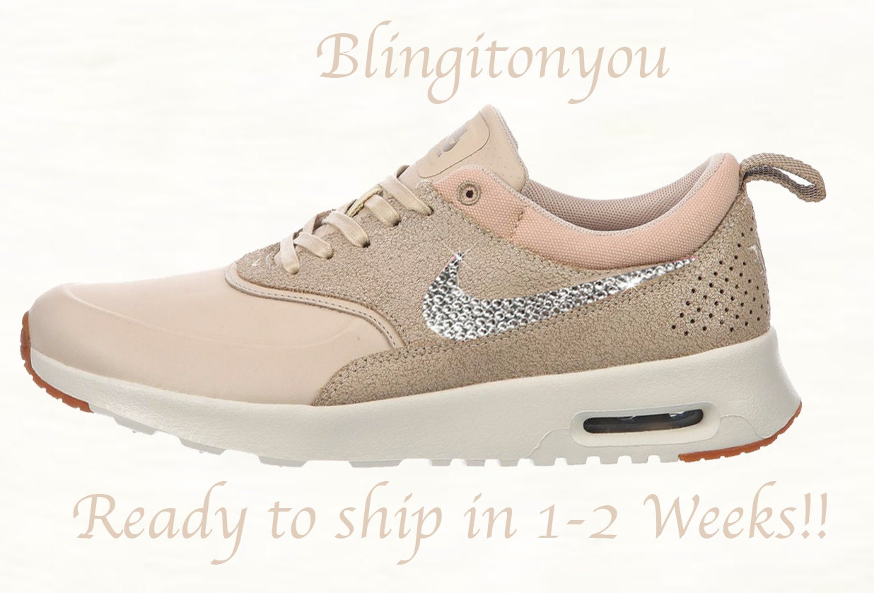 Swarovski Nike Women's Air Max Thea Oatmeal Shoes Blinged Bedazzled with Clear Swarovski Crystal Rhinestones | Customized Nike Bling Shoes
