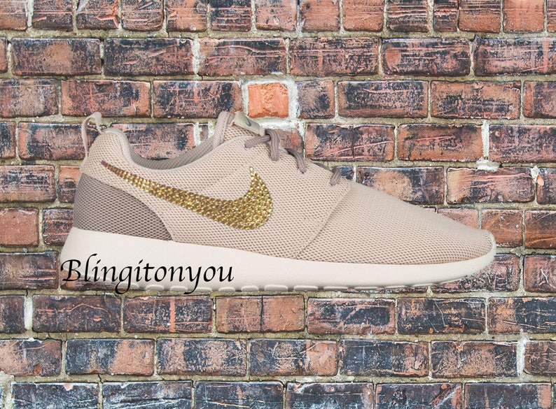 Swarovski Nike Women's Roshe One Shoes (Light Orewood Brown) Customized With Gold Swarovski Nike Crystals. Nike Bling Women's Shoes