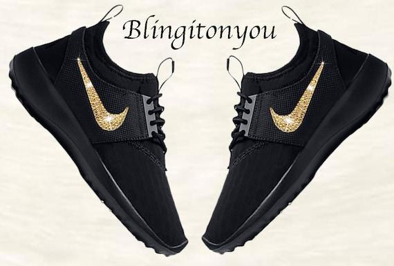 New Swarovski Black Nike Women s Juvenate Shoes Custom  203bbbe12c