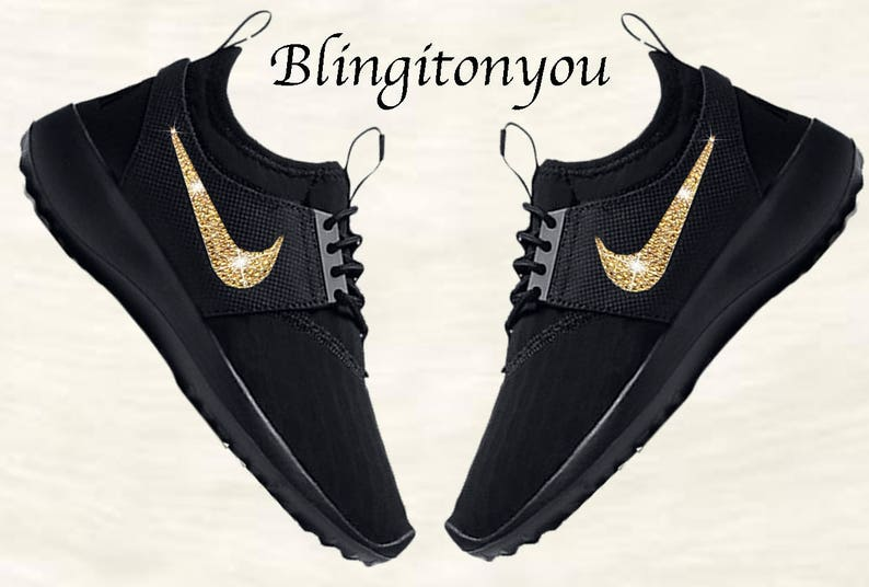 new style db8ff 4f3b5 New Swarovski Black Nike Women s Juvenate Shoes Custom   Etsy