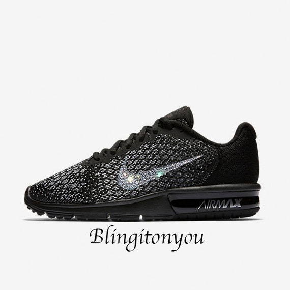 6b274120c44d3 last pair Bling Swarovski Nike Women's Air Max Sequent 2 Black Shoes with  Swarovski Crystals! Sparkly Nike Customized Shoes! Bling Women's