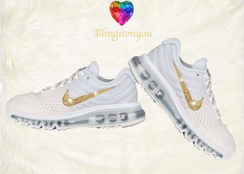 Swarovski Nike Air Max 2017 Women's Running Shoe White with Gold Swarovski Crystals Brand New In Box Blinged Out Nike Women's Shoes