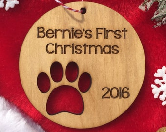 Personalized Dog Christmas Ornament - Puppy's First Christmas, Paw Print, Pet Gift, Pet Ornament, Dog Christmas, Custom Ornament, Wood Gift